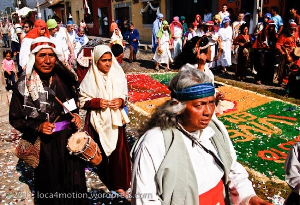 Dyed sawdust alfombra (carpet) in the path of the procession, Antigua, Guatemala