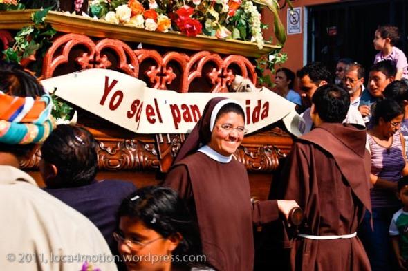 Smiling nun, Antigua, Guatemala