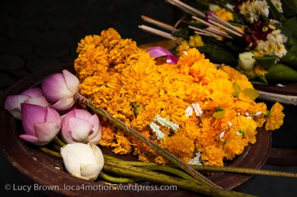 Temple offerings: lotus flowers & marigolds, Chiang Mai, Thailand