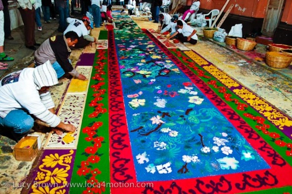 Making alfombras all Maundy Thursday (Jueves Santo) night for the early morning Good Friday (Viernes Santo) procession, Antigua, Guatemala