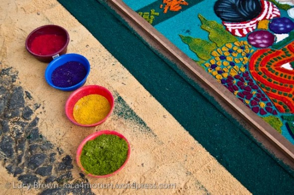 Different hues of dyed sawdust, Antigua, Guatemala
