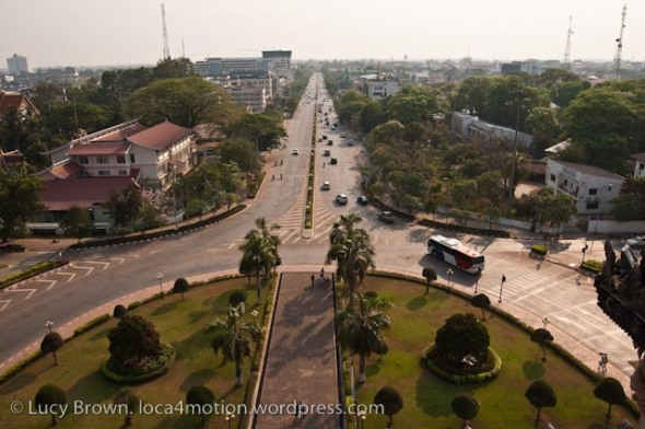 View from top of Patuxay Victory Gate, Vientiane, Laos