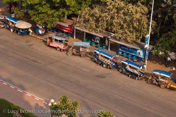 Tuk tuks opposite Patuxay Park, Vientiane, Laos