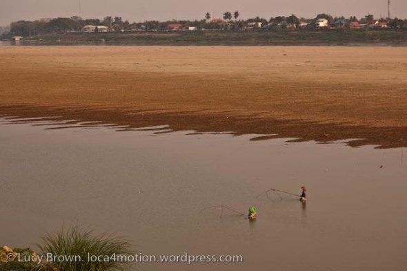 Sunset fishing in the Mekong River, Vientiane, Laos