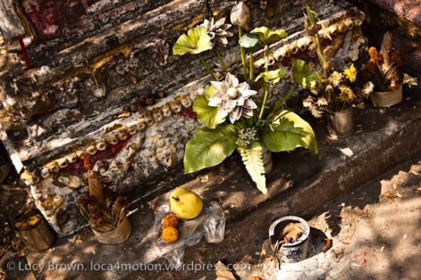 Tomb offerings, Wat Sisaket, Vientiane, Laos