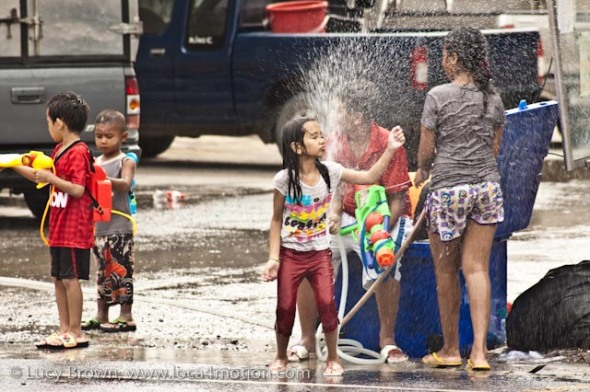 Songkran (Thai New Year) water fight, Karon, Phuket, Thailand