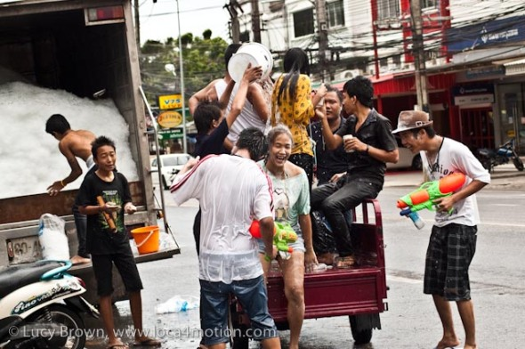 Ice buyers become victims of icy water, Songkran (Thai New Year), Karon, Phuket, Thailand