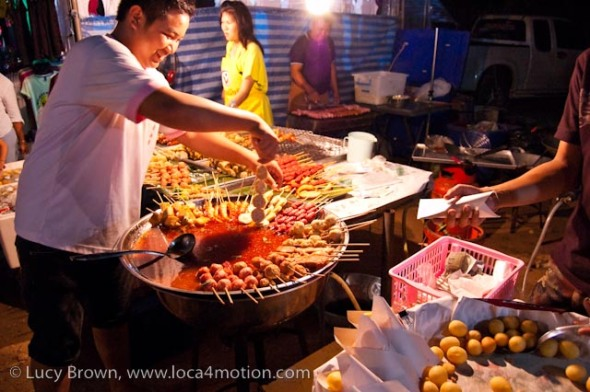 Selling meat and fish balls on sticks, street food, Thailand