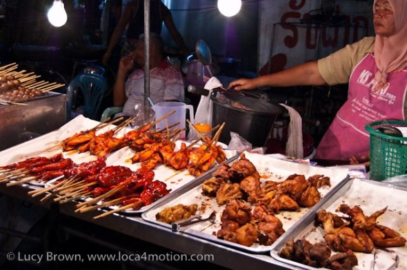 Deep-fried and grilled chicken, street food, Thailand