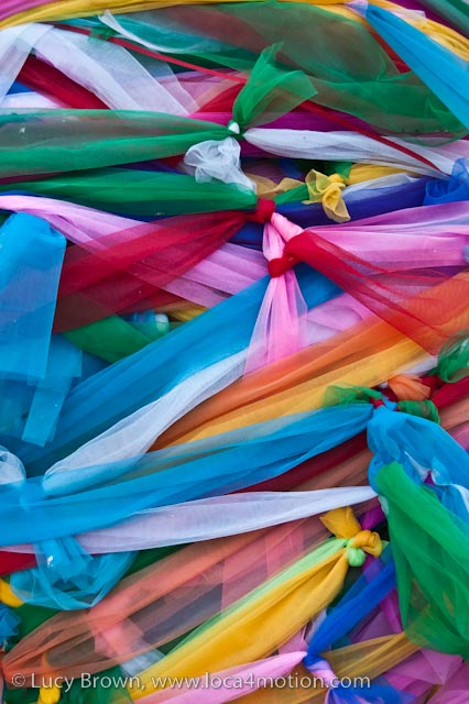 Close up, colored ribbons, naga shrine (pa ya nak), Karon beach, Phuket, Thailand