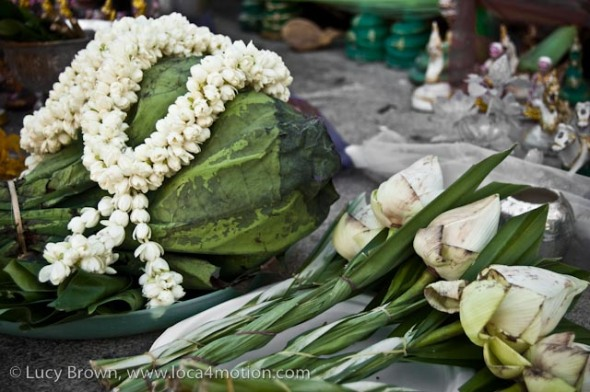 Lotus flower, jasmine garland, naga shrine, Karon beach, Phuket, Thailand