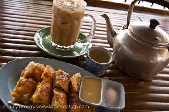 Banana roti with condensed milk and sugar, iced coffee and Chinese tea at a roadside eatery, desserts, Thailand