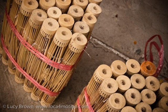 Close-up of bundles of bamboo parasol frames, traditional Thai parasols, Chiang Mai, Thailand