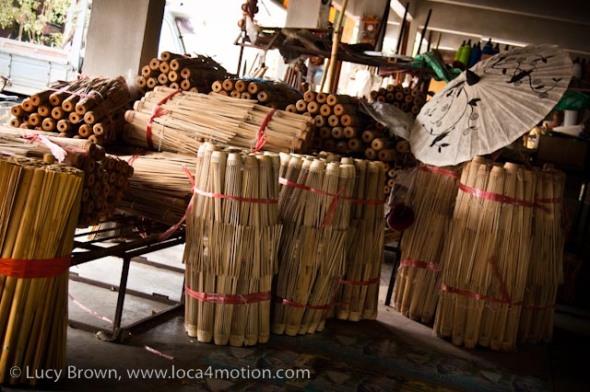 Bundles of bamboo parasol frames, traditional Thai parasols, Chiang Mai, Thailand