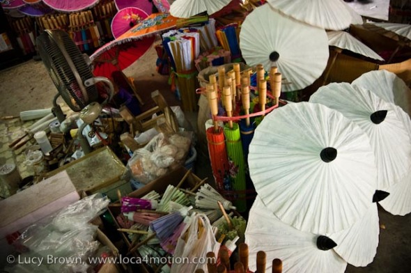 Painted and unpainted parasols, Thai parasol workshop, Traditional Thai parasols, Chiang Mai, Thailand