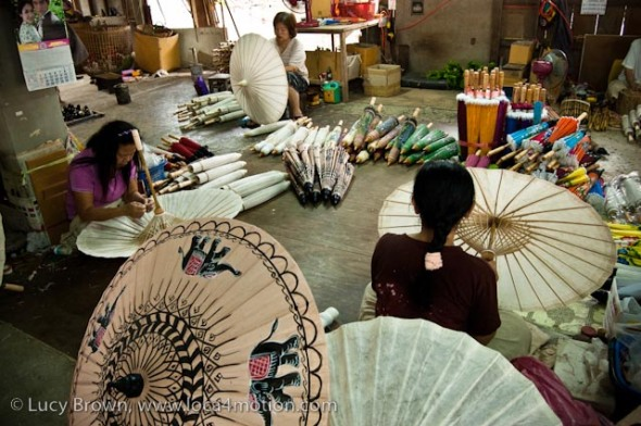 Artisans in Thai parasol workshop, Traditional Thai parasols, Chiang Mai, Thailand