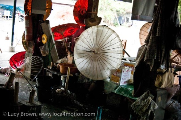 Parasols in different stages of production, traditional Thai parasols, Chiang Mai, Thailand