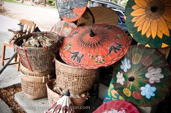 Painted parasols, traditional Thai parasols, Chiang Mai, Thailand