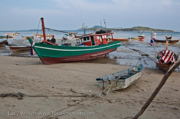 Boats, low tide, Rawai beach, Phuket, Thailand