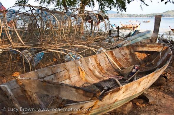 Old boat, fish traps, Rawai beach, Phuket, Thailand