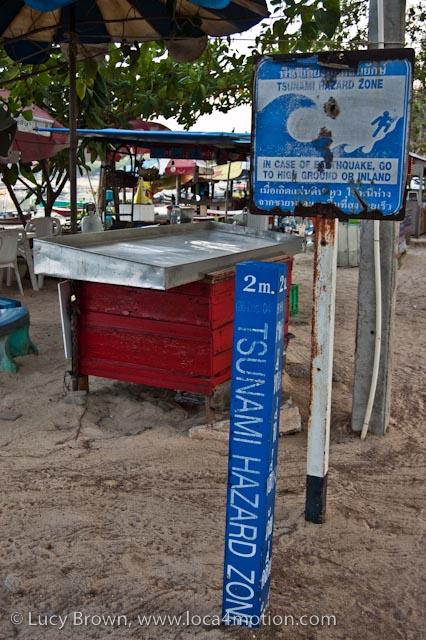 Tsunami hazard zone sign, Rawai beach, Phuket, Thailand