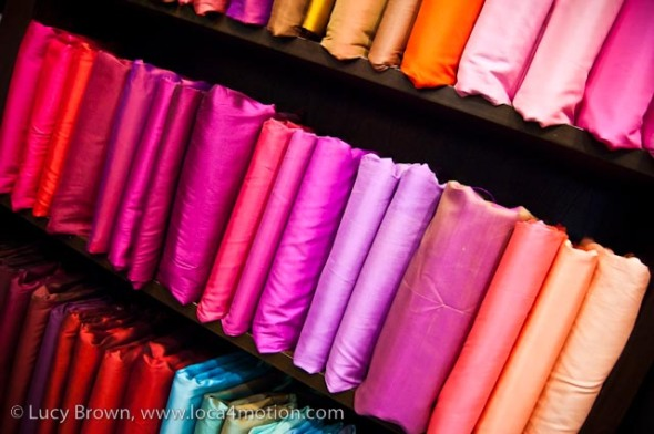 Finished Thai silk products in the store, Chiang Mai, Thailand