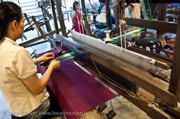 Weaving Thai silk on a hand-loom, Chiang Mai, Thailand