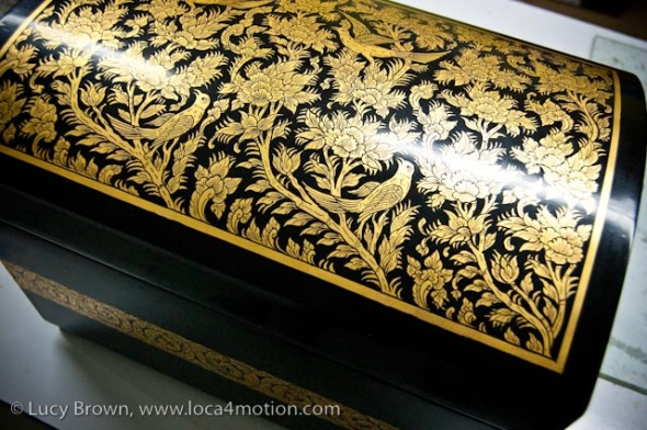 Gold leaf inlaid lacquered Jewelry box, Thai lacquerware, Chiang Mai, Thailand