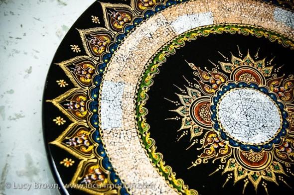Lacquered tray, Thai lacquerware, Chiang Mai, Thailand