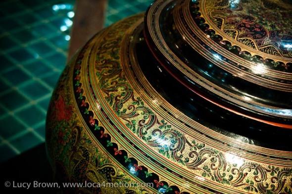 Lacquered urn, Thai Lacquerware showroom, Chiang Mai, Thailand