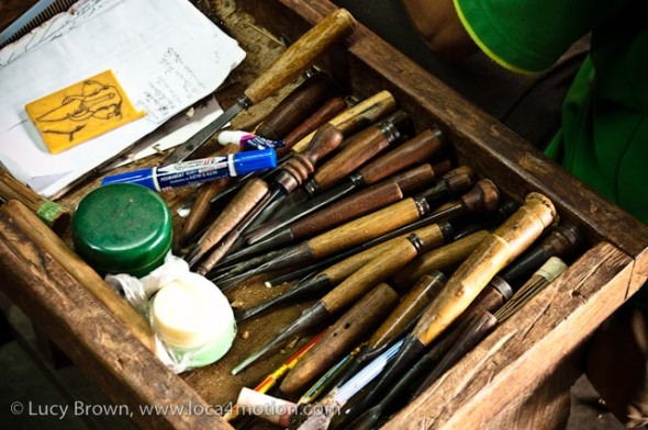 Wood carver's toolbox, wood carving, Chiang Mai, Thailand