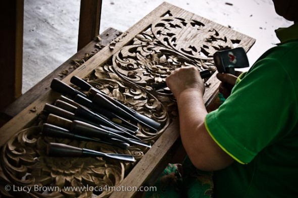 Carving flowers in teak, wood carving, Chiang Mai, Thailand