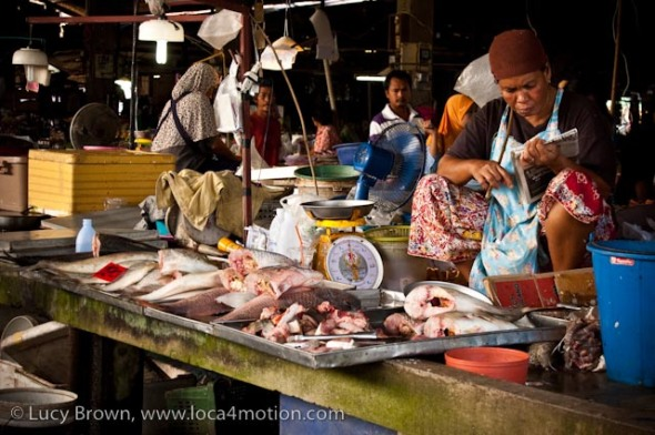 Fish counter, morning market, Krabi town, Krabi, Thailand