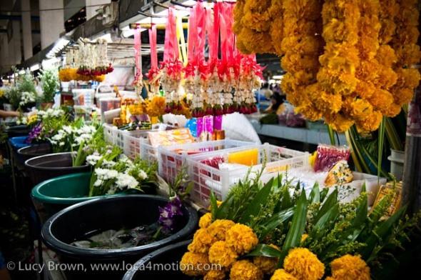 Marigold & jasmine garlands, morning market, Krabi town, Krabi, Thailand