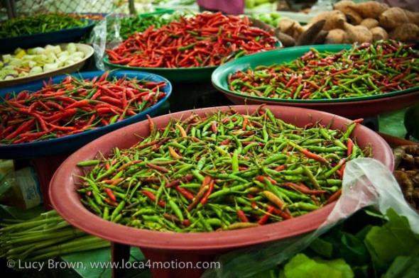 Chiles, morning market, Krabi town, Krabi, Thailand