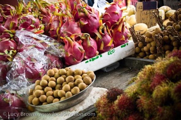 Dragon fruit, longan & rambutan, morning market, Krabi town, Krabi, Thailand