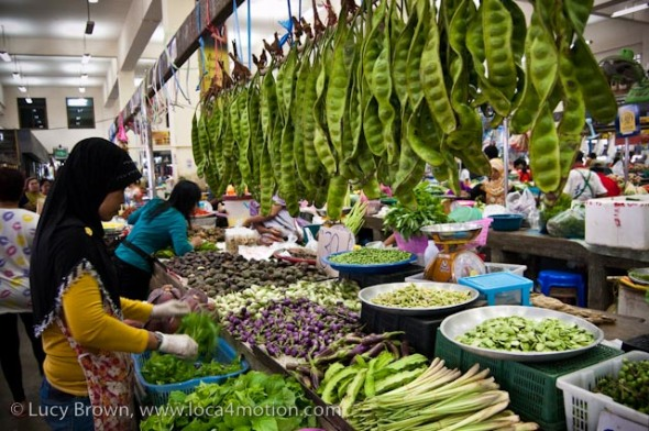 Selling vegetables, morning market, Krabi town, Krabi, Thailand