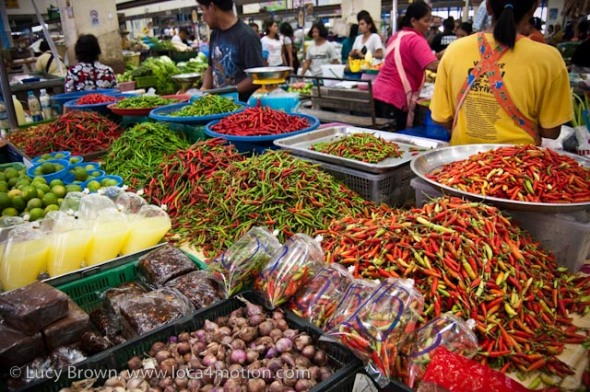 Selling chiles, morning market, Krabi town, Krabi, Thailand