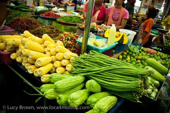 Selling vegetables, morning market, Krabi town, Krabi, Thailand