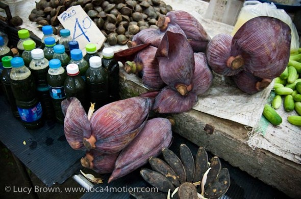 Banana flower buds, morning market, Krabi town, Krabi, Thailand