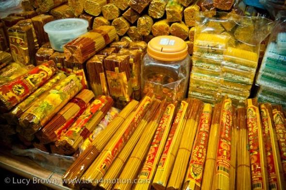 Incense stall, morning market, Krabi town, Krabi, Thailand