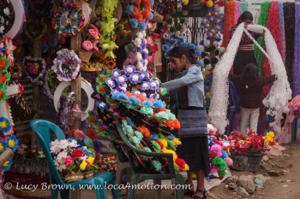 Selling cemetery wreaths, Todos Santos Cuchumatán, Huehuetenango, Guatemala