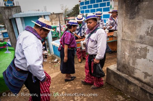 Marimba playing and dancing in the cemetery, Todos Santos Cuchumatán, Huehuetenango, Guatemala