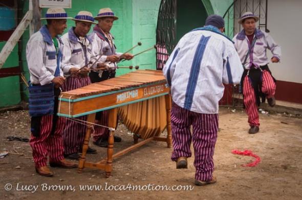 Marimba playing and dancing in the cemetery, Todos Santos Cuchumatán, Huehuetenango, Guatemala