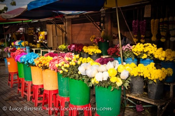 Flower stalls, Little India, George Town, Penang, Malaysia