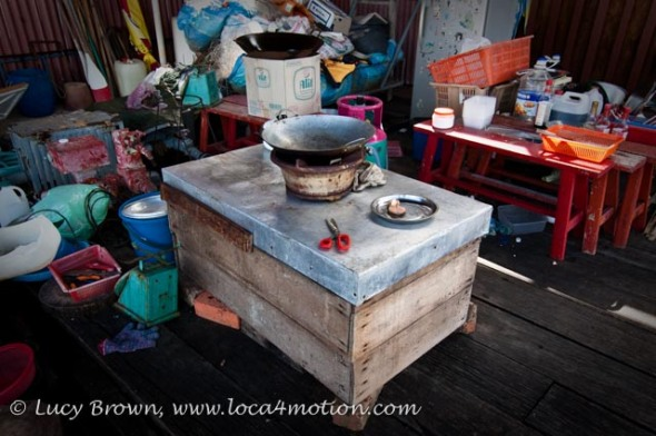 Outside kitchen at end of jetty, Chew Jetty, Clan Jetties, George Town, Penang, Malaysia