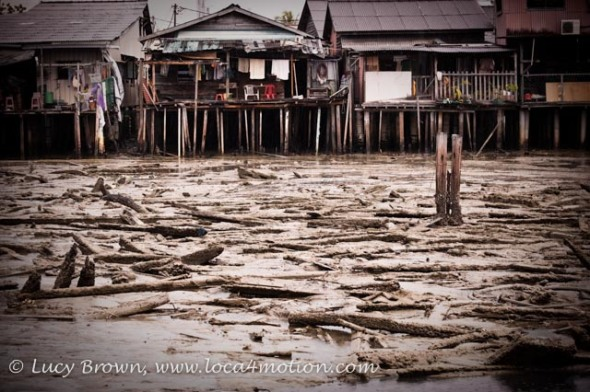 View of next jetty at low tide during storm, Clan Jetties, George Town, Penang, Malaysia