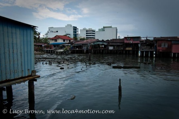 View of next jetty during storm, Clan Jetties, George Town, Penang, Malaysia