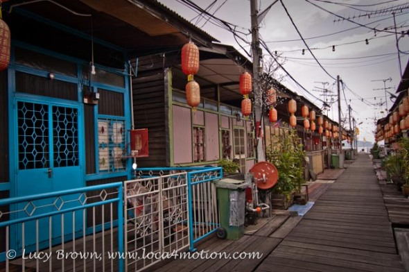 Jetty homes with hanging Chinese lanterns, Lee Jetty, Clan Jetties, George Town, Penang, Malaysia