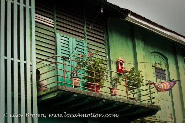 Painted Shuttered Windows and Balcony, George Town, Penang, Malaysia